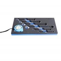 Garnitura viljuškasto-okastih ključeva sa čegrtaljkom u SOS ulošku za alat
